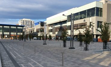 Image of Aberdeen Square facing the Cineplex cinema at TD Place