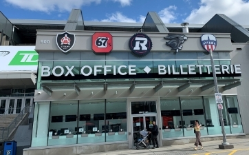 TD Place box office with teams' logos