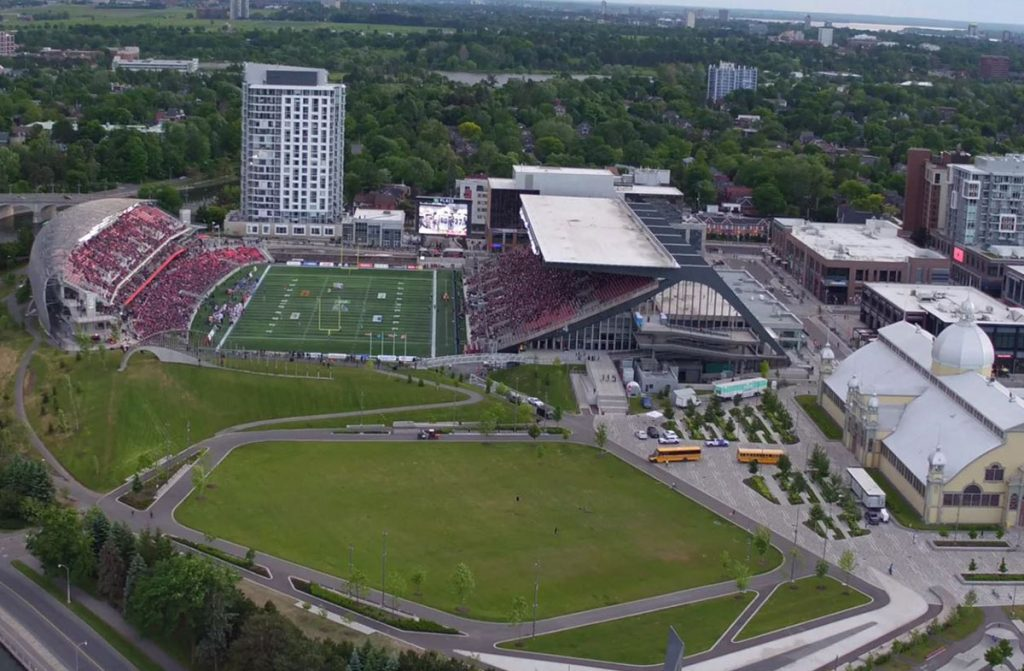 Arial drone shot of Lansdowne Park from the East Canal side