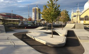 Image of the skateboard park to the rear of the Aberdeen Pavilion at TD Place