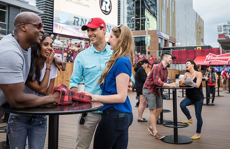Image of the Log Cabin full of people during a REDBLACKS game