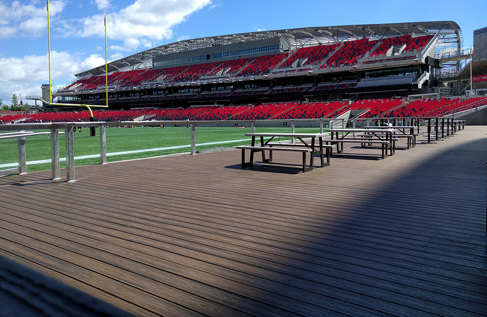 The Log Cabin in the west end of the stadium at TD Place