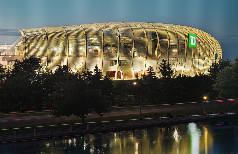 Image of the veil on the South side stands from the Rideau Canal showing the TD Place