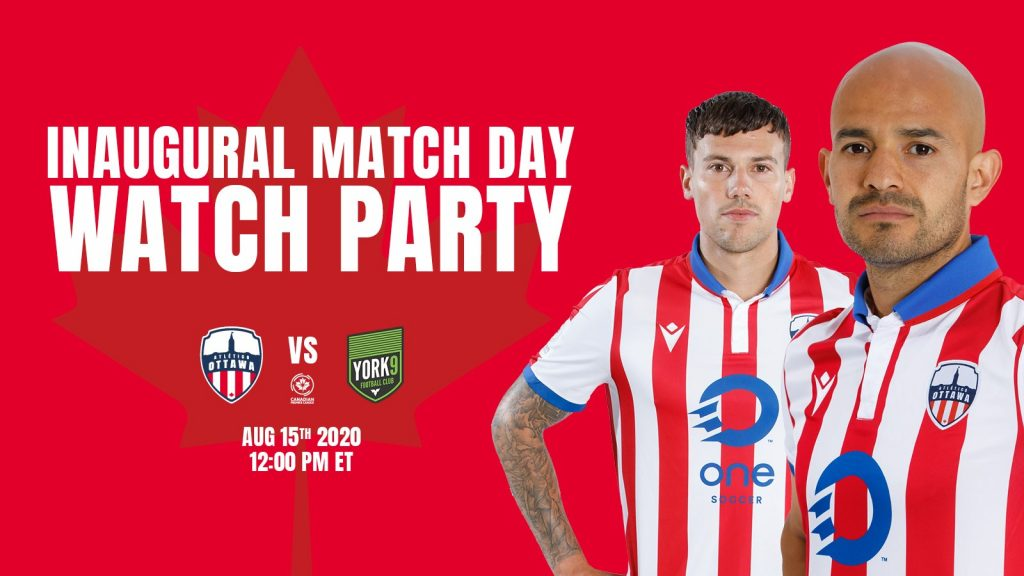 Graphic image of 2 Atlético players promoting the Inaugural Match Day Watch Party